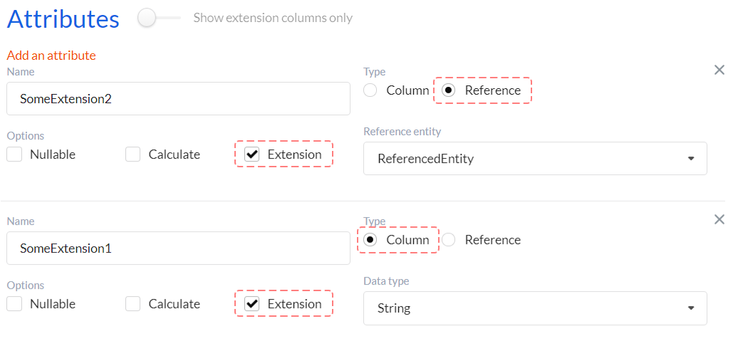 Creating extension attributes